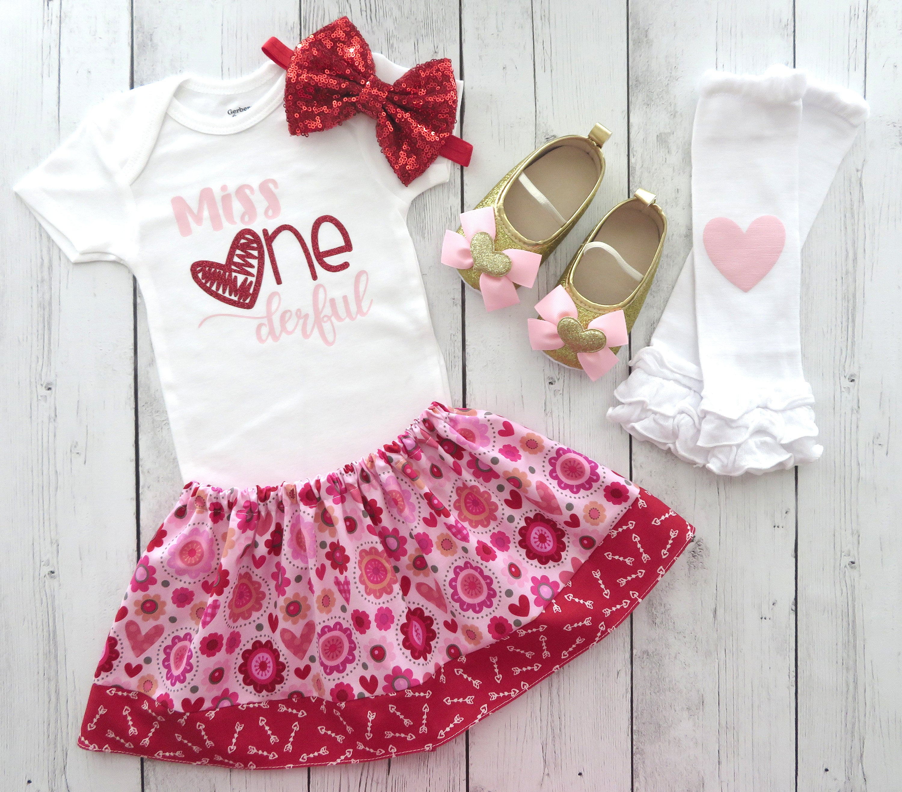 Pink and Red First Birthday Outfit - miss ONEderful, valentine's birthday, girl first birthday outfit, miss onederful, valentine birthday