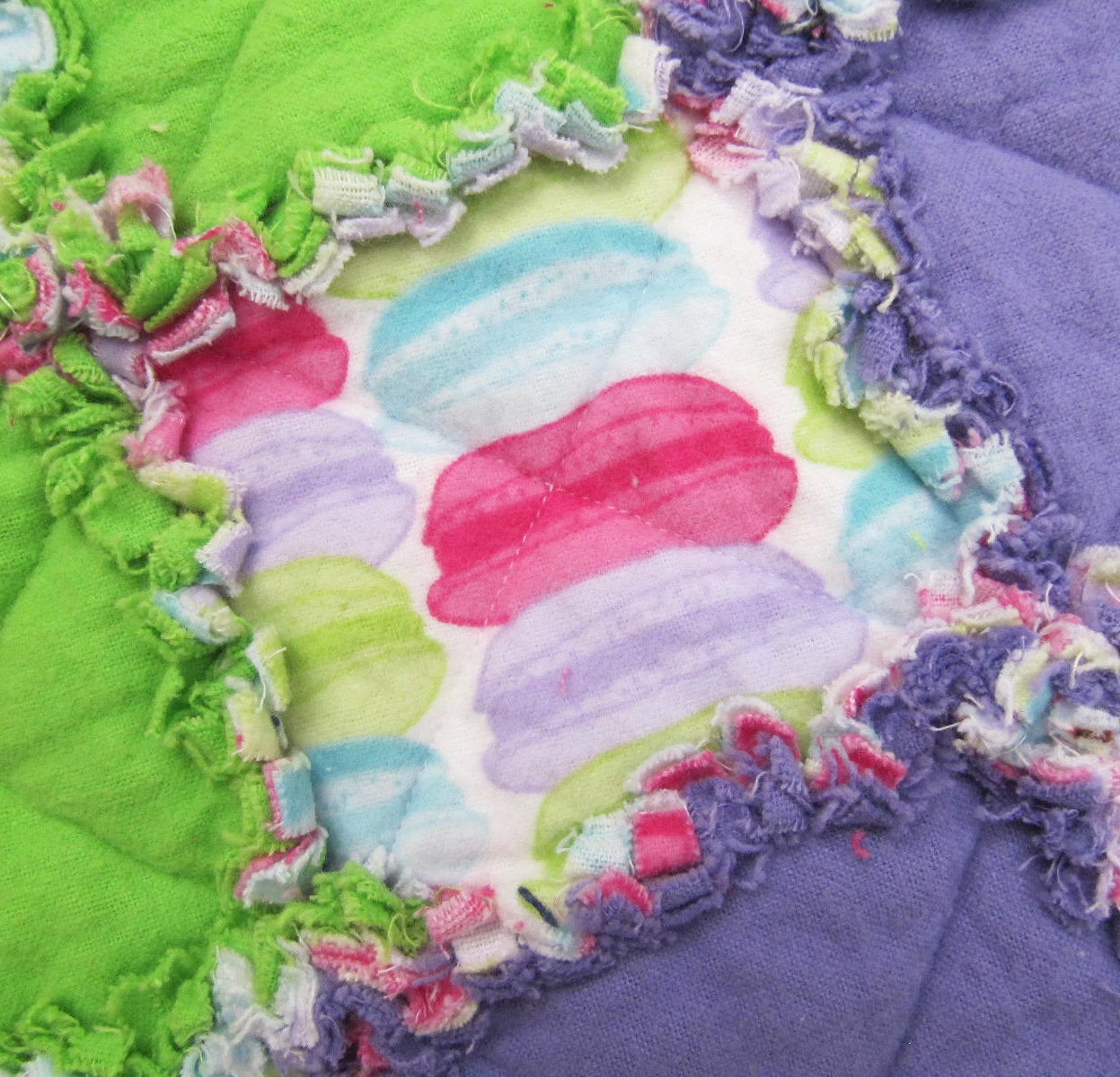 Macaroons Baby Girl Rag Quilt - pink, purple, blue, lime green, candy quilt, colorful