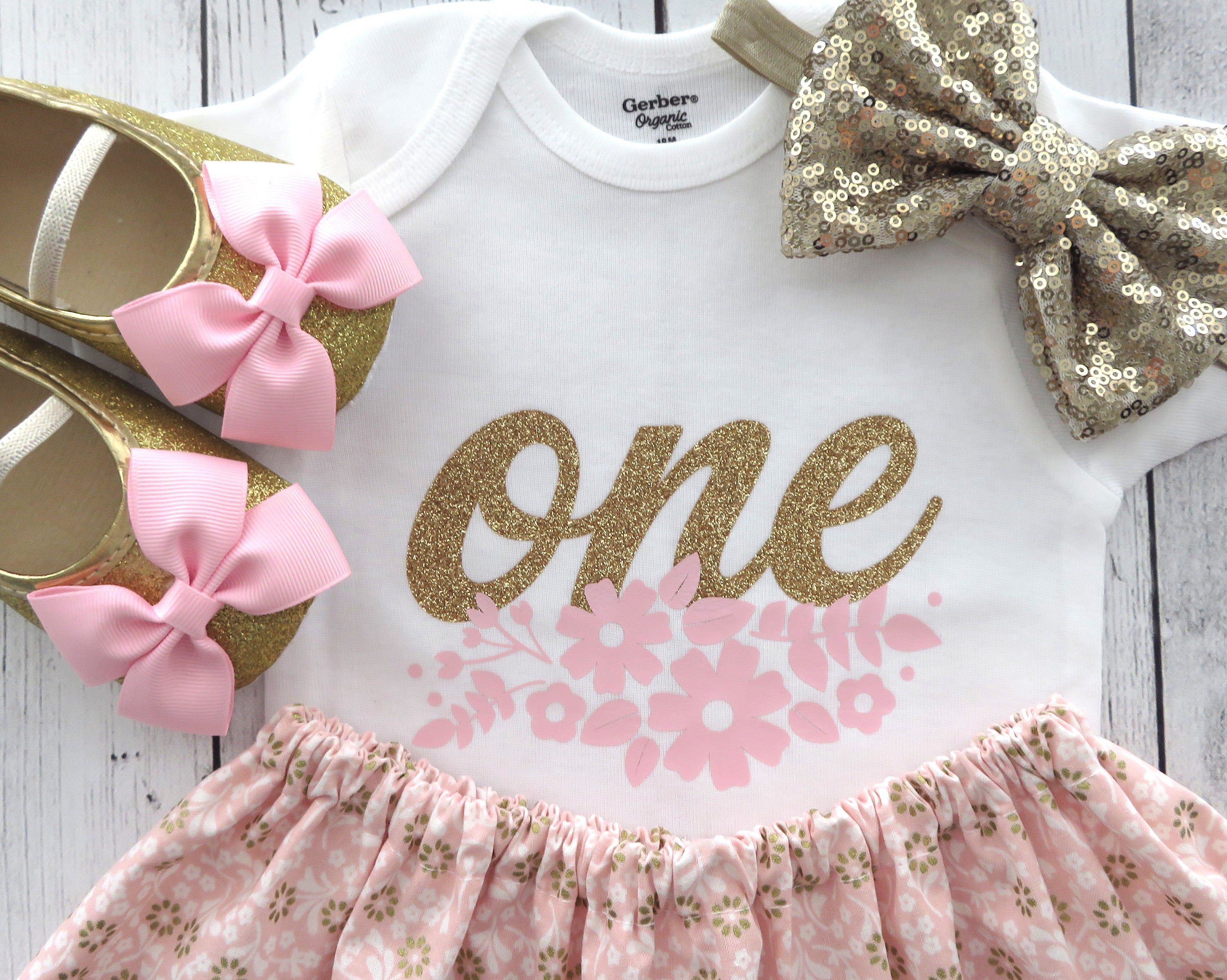 Floral First Birthday Outfit in pink and gold - girl 1st birthday outfit, floral 1st birthday outfit, pink gold birthday outfit, 1st bday
