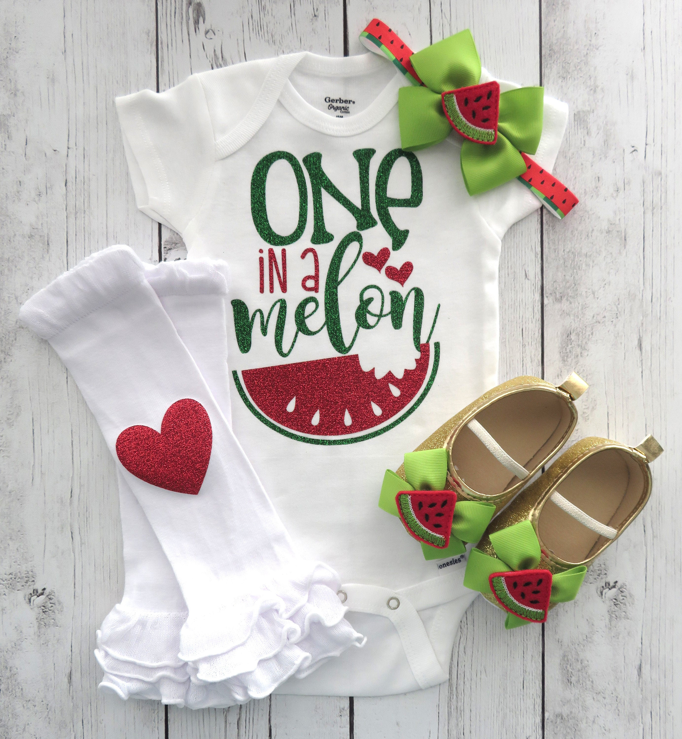 One in a Melon First Birthday Onesie - first birthday girl, watermelon birthday, watermelon red green, watermelon bow, watermelon shoes