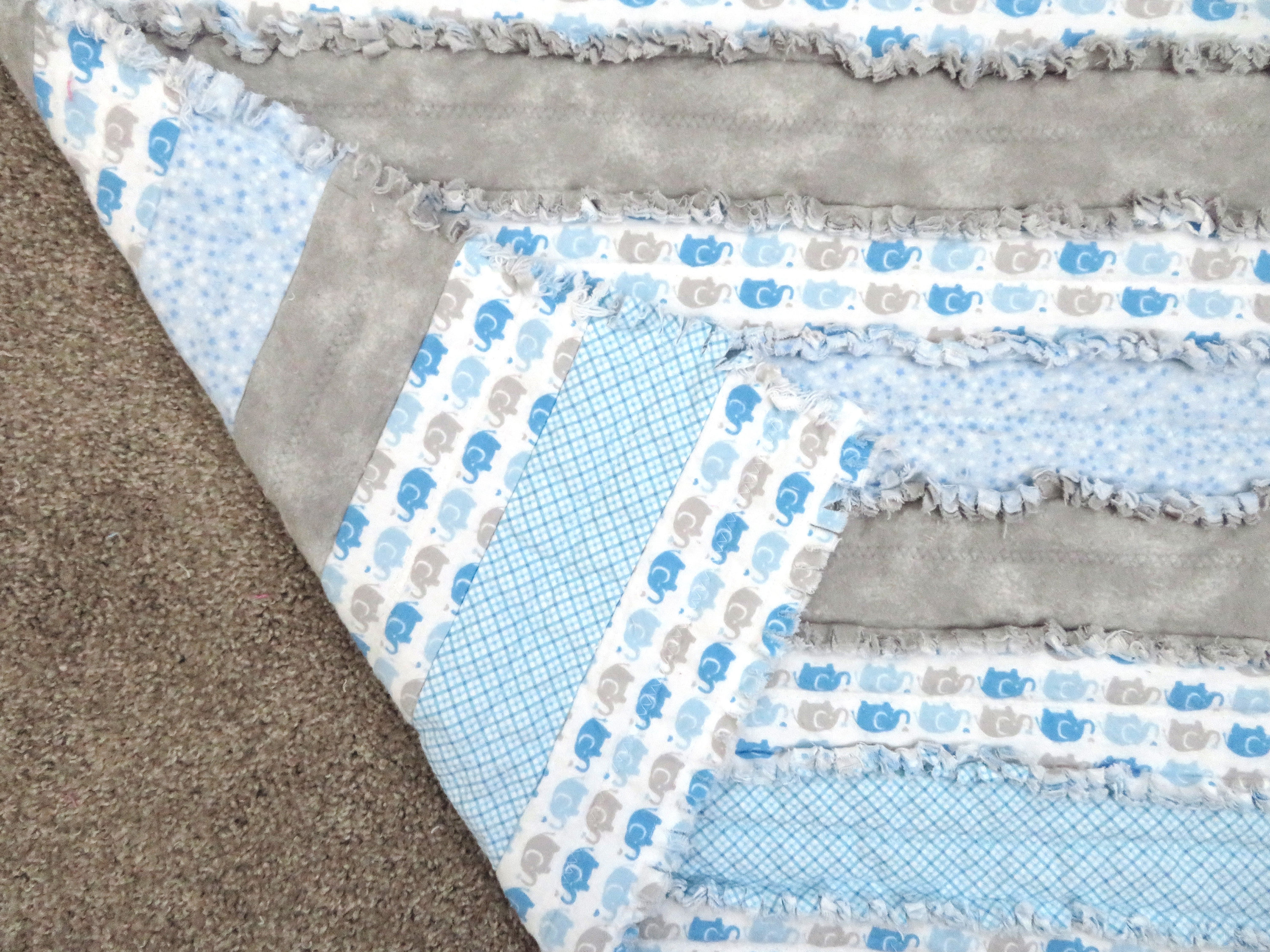 Elephants Nursery Blanket in blue and grey - elephants on parade, blue gray striped rag quilt, elephant nursery blanket, stroller blanket