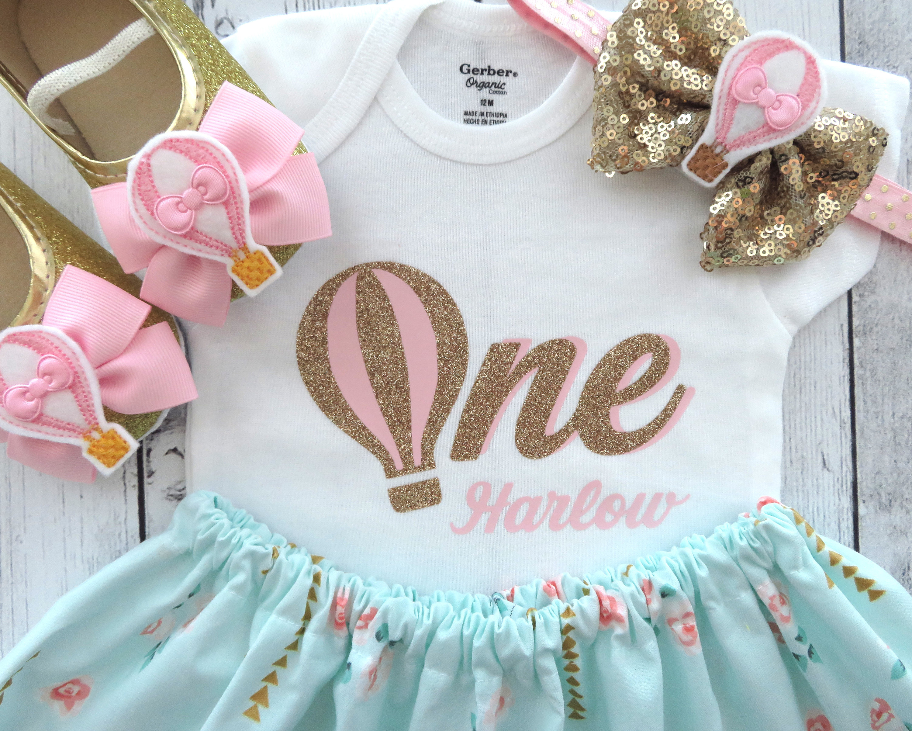 Hot Air Balloon First Birthday Outfit in mint pink and gold - girl birthday outfit, cake smash, pink gold, hot air balloon 1st bday outfit