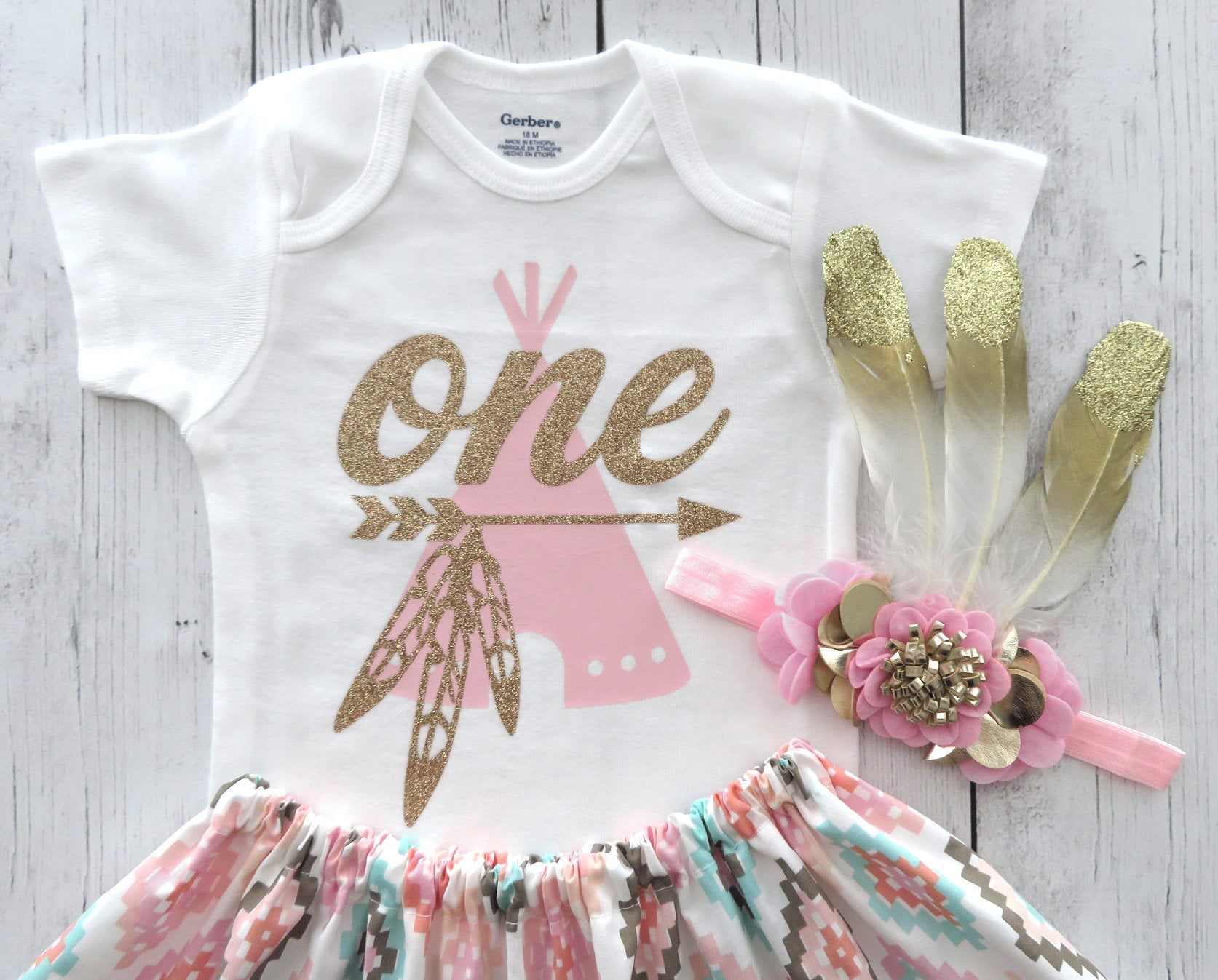 Wild One Birthday Outfit with feather headband and mocassins - teepee outfit, boho chic, girl 1st bday outfit, wild one girl