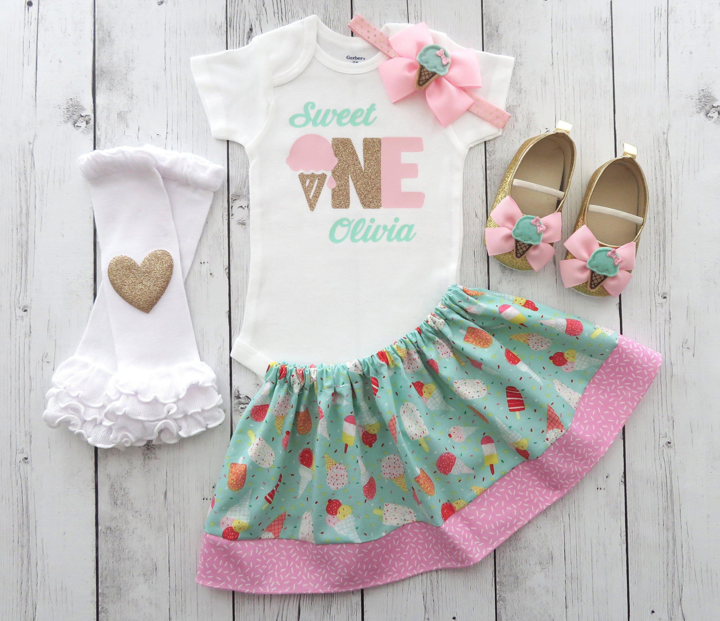 Sweet One First Birthday Outfit in pink, mint and gold - girl 1st bday outfit, ice cream shoes, sweet one, ice cream bday girl, personalized