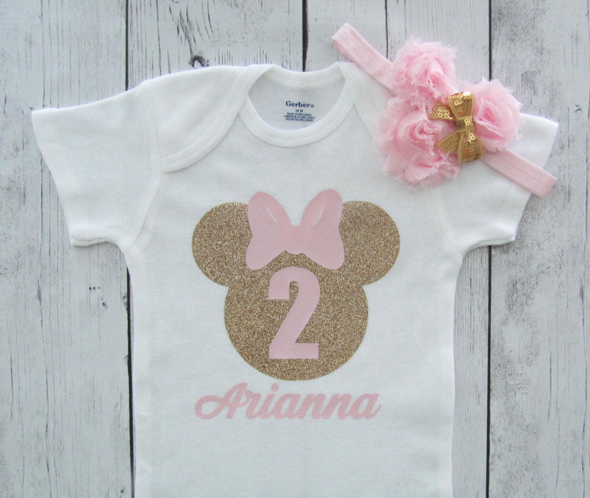 Minnie Mouse Second Birthday Onesie in pink and gold with headband - girl birthday, glitter, personalized, pink gold, minnie 2 shirt