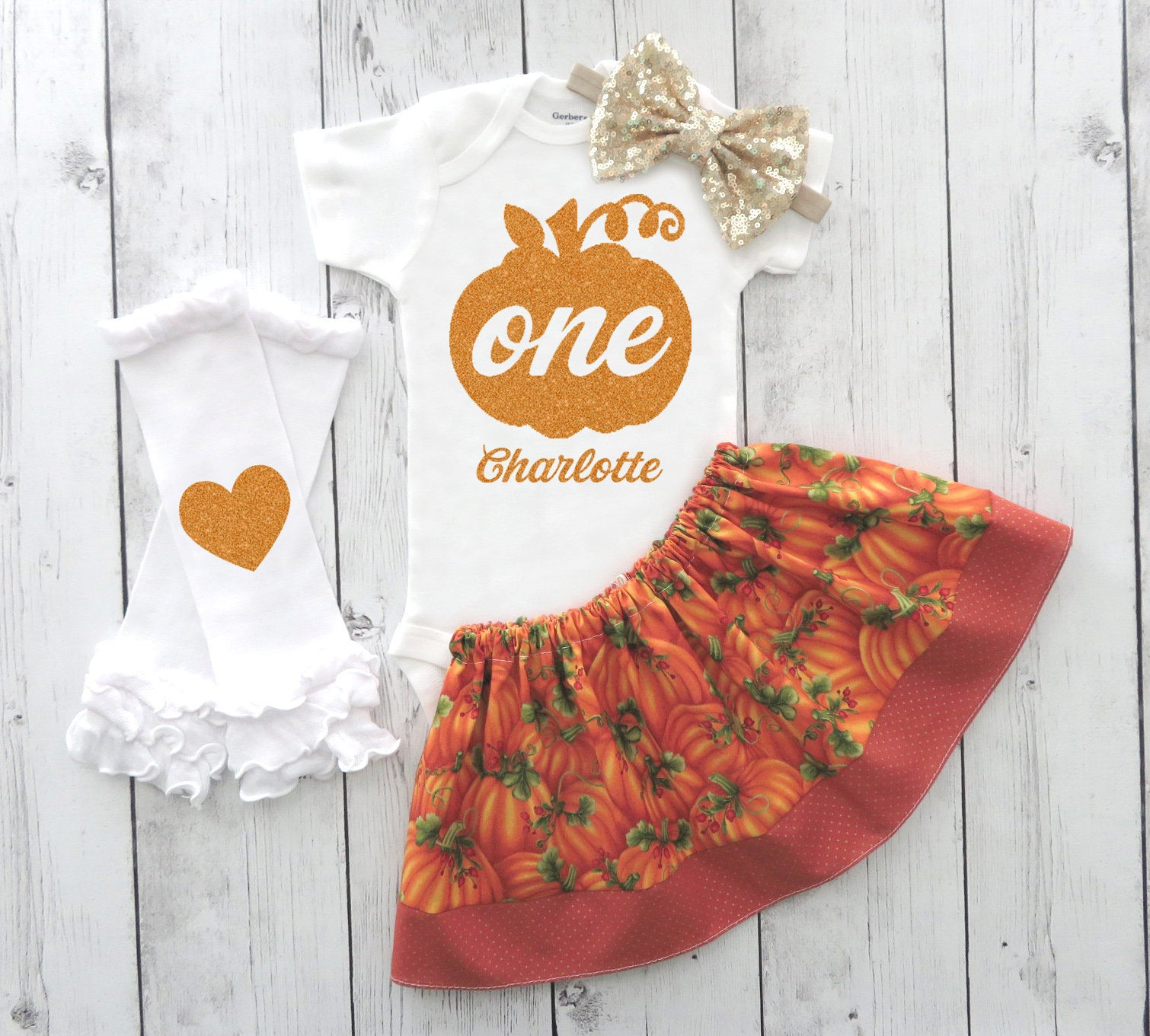 SALE -Pumpkin First Birthday Outfit in orange and gold - our little pumpkin is turning one, girl 1st bday outfit, fall first birthday outfit