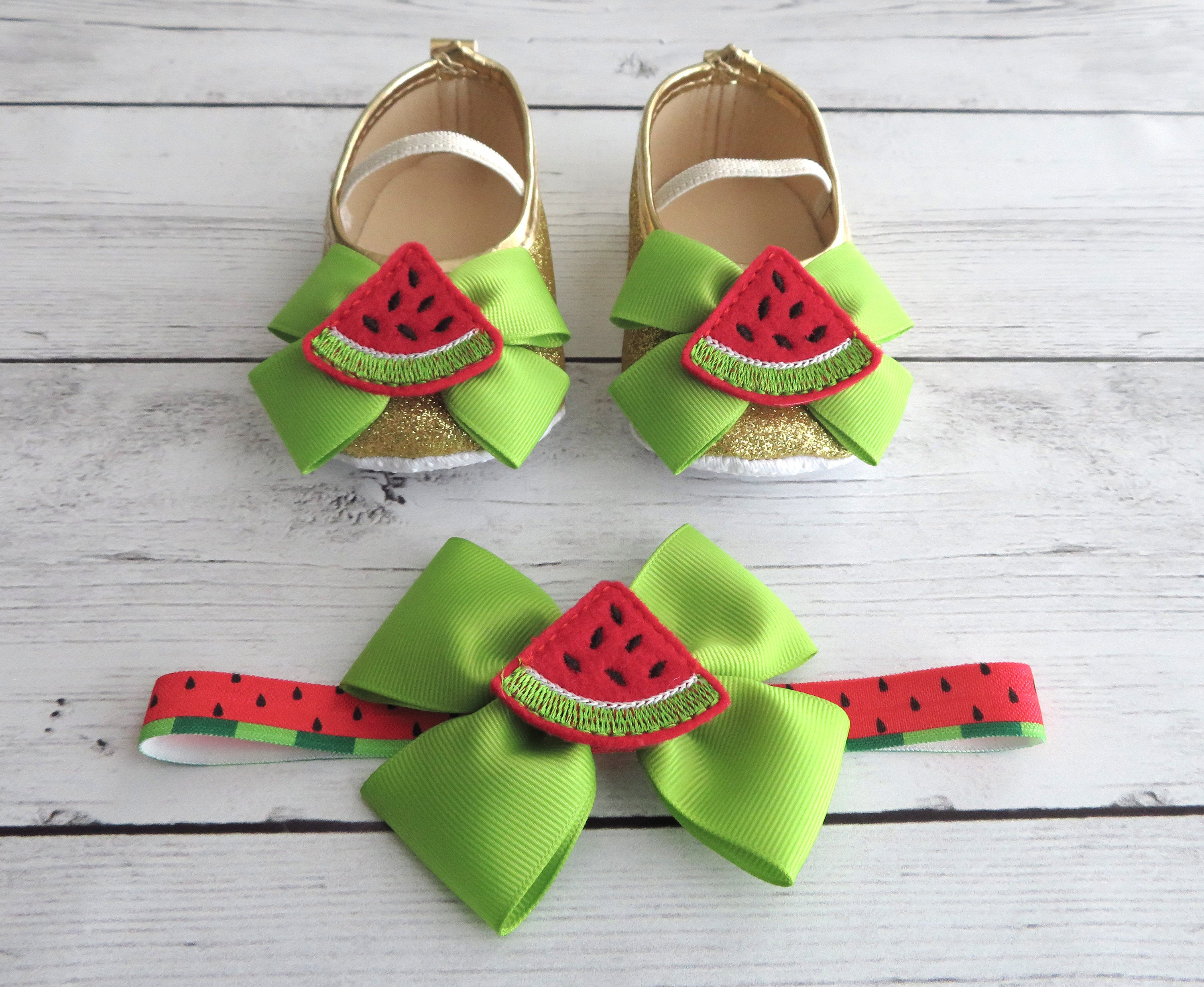 Watermelon First Birthday Shoes & Headband Set in lime green and red - one in a melon, summer shoes, 1st bday shoes, watermelon birthday
