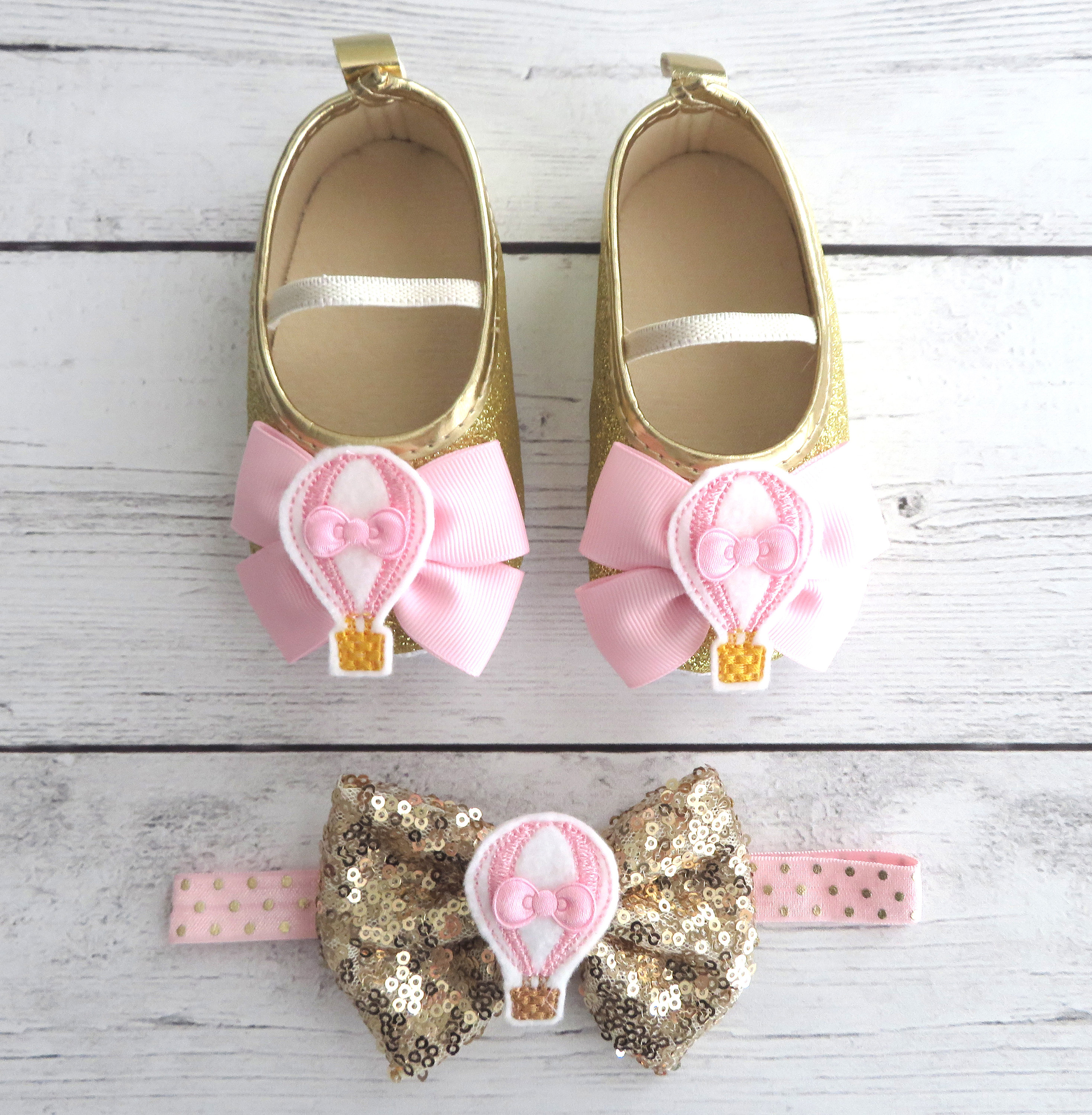 Hot Air Balloon First Birthday Shoes & Headband Set in light pink and gold - hot air balloon 1st birthday outfit, pink gold birthday girl
