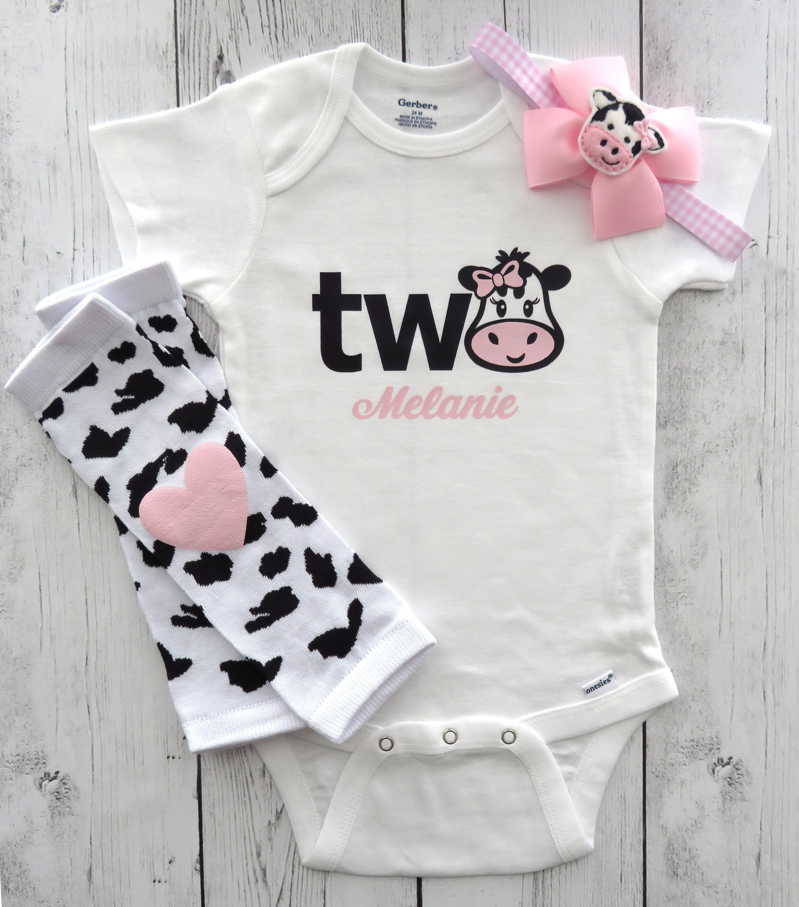 Cow Second Birthday Onesie - farm animal birthday, cow headband, 2nd bday outfit, personalized, pink cow, two year old birthday outfit