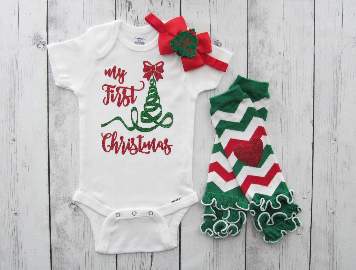 My First Christmas Onesie - baby girl christmas shirt, my first christmas, bow, first christmas tree, red green