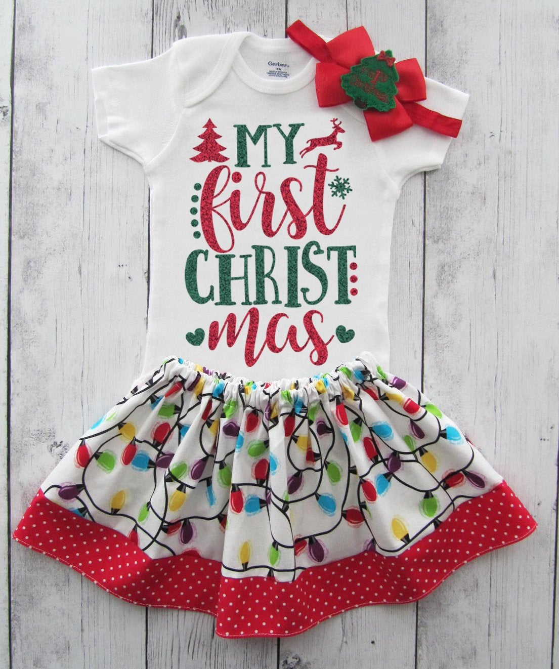 My First Christmas Outfit for Baby Girl in red and green glitter - 1st xmas outfit girl, baby's first christmas, leg warmers, holiday outfit