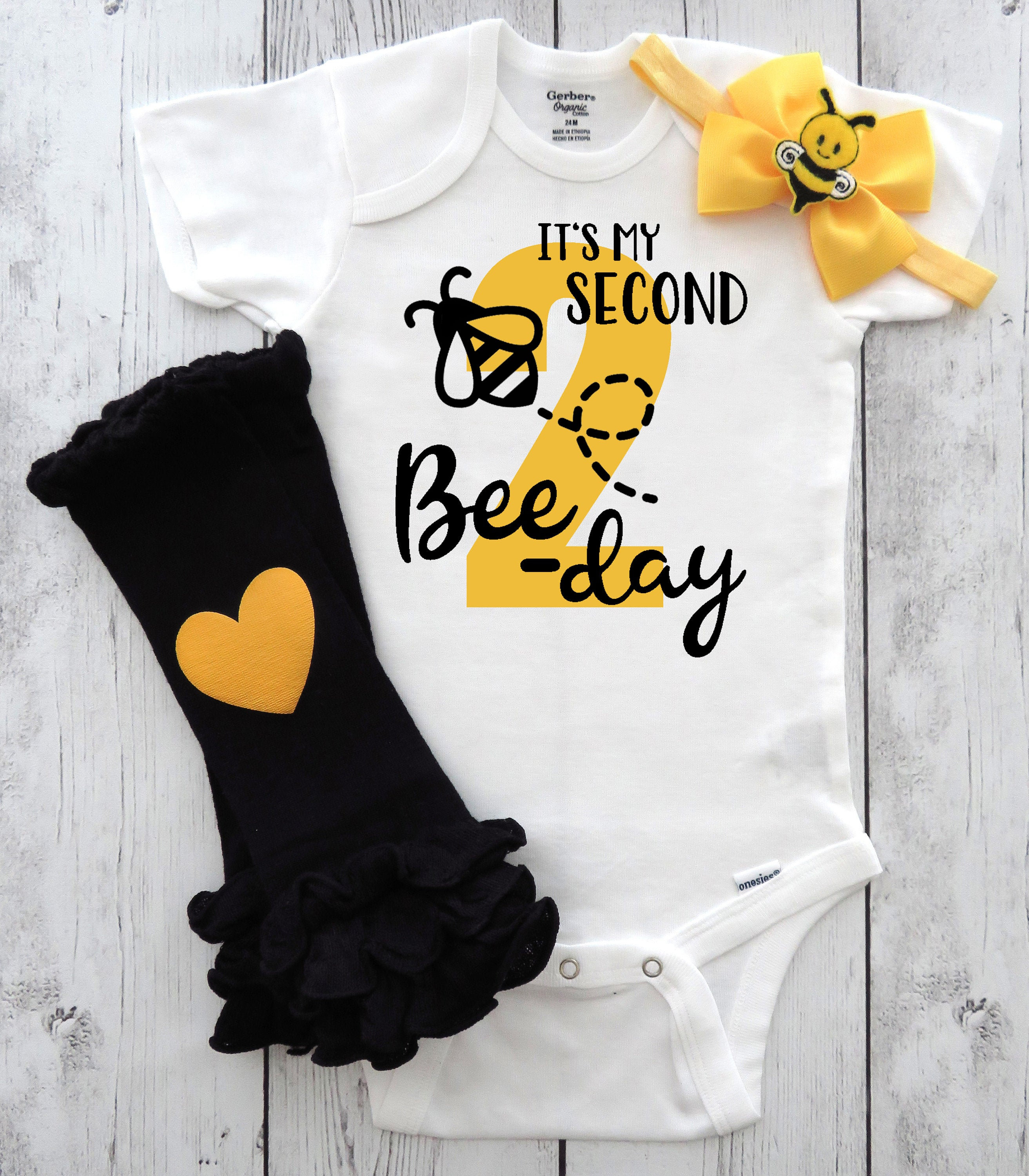 Bee-day Second Birthday Onesie in yellow and black - Second bee-day birthday outfit, bee 1st bday outfit, second birthday girl bumblebee