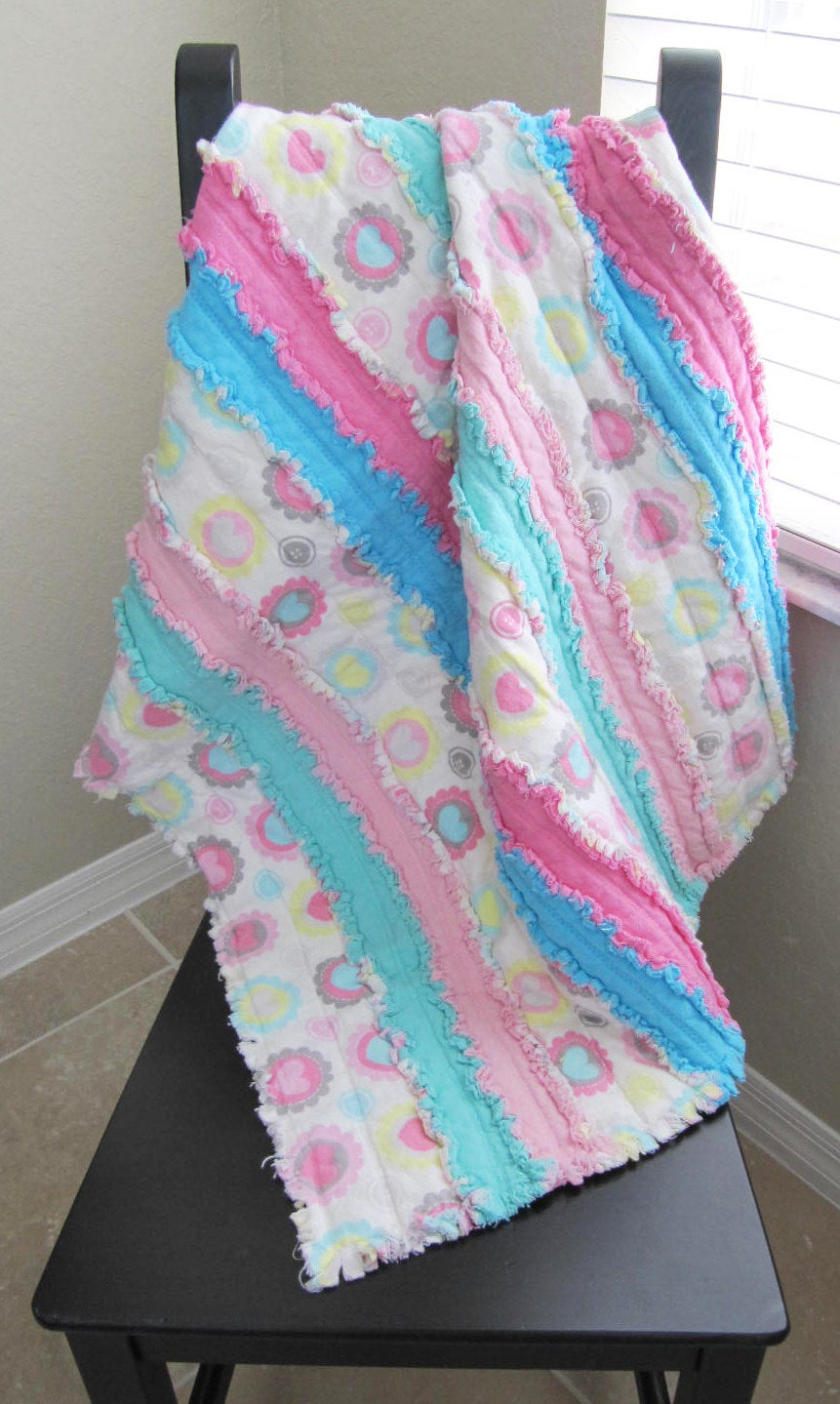 Jelly Roll Rag Quilt for Baby/Toddler - pink, blue, mint, grey, baby girl, baby shower gift, cuddle blanket