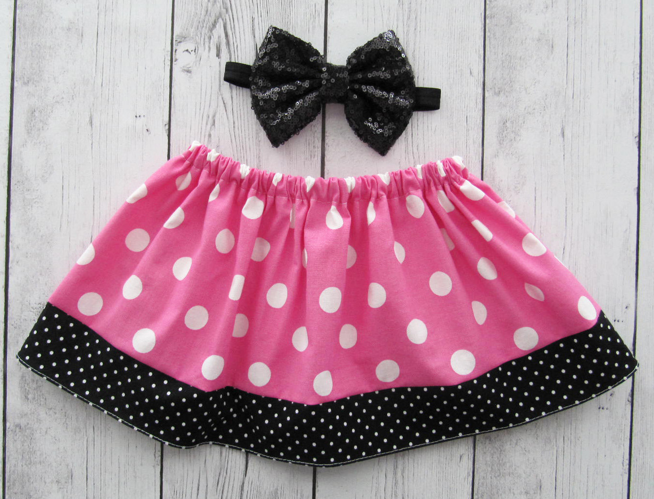 Pink Minnie Mouse Polka Dot Skirt for baby girl - pink black skirt, polka dot skirt, baby girl skirt, minnie halloween, baby girl skirts