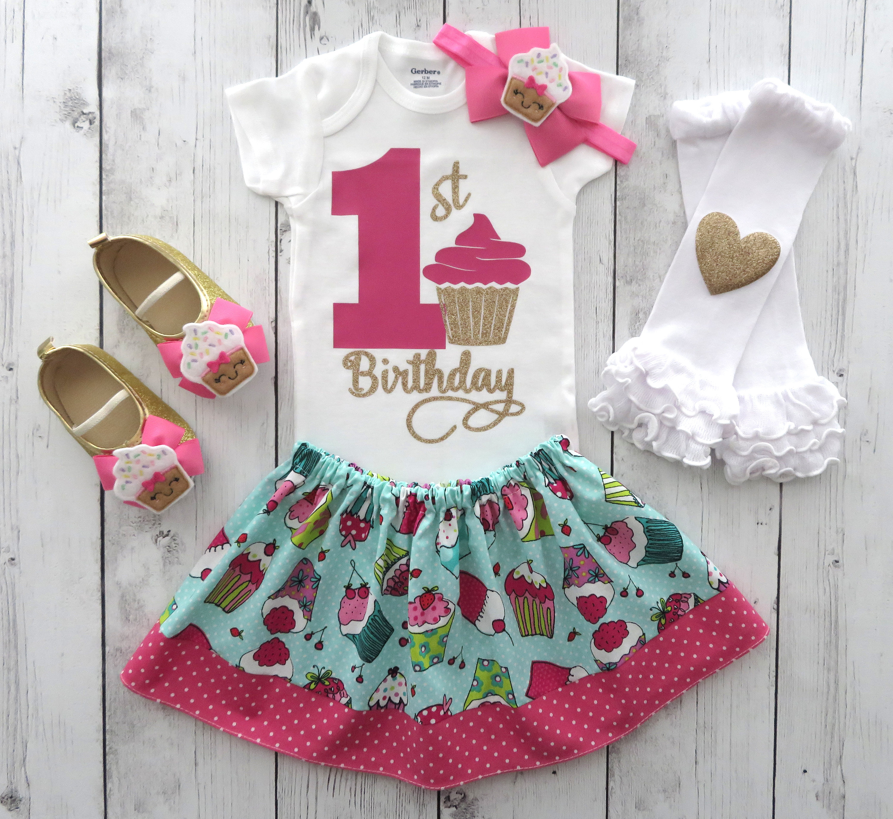 Cupcake First Birthday Outfitin hot pink and gold - sweet one birthday girl, cupcake birthday party, cupcake shoes, 1st bday outfit girl
