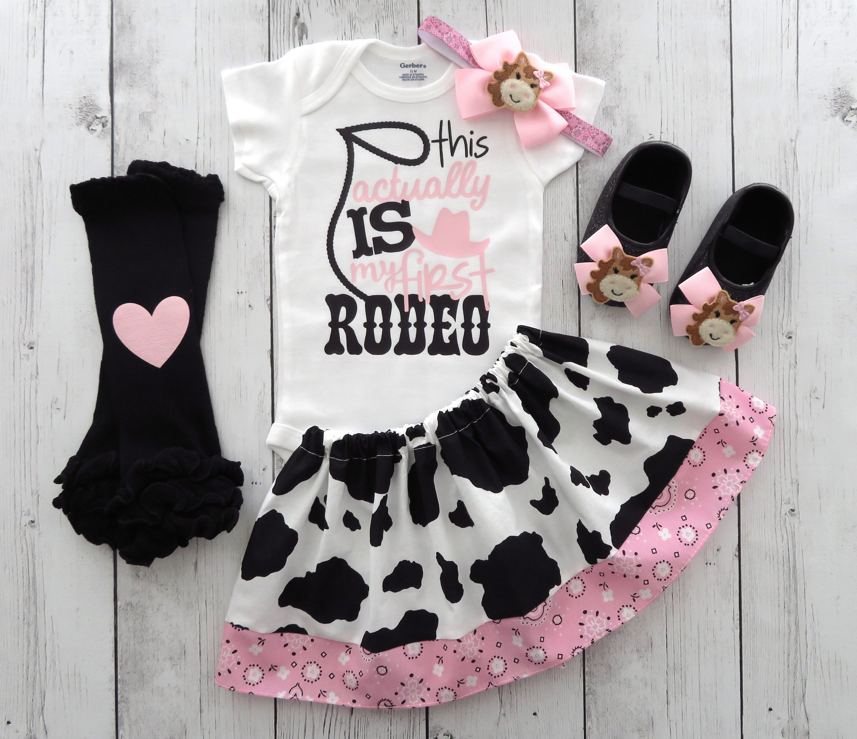 First Rodeo Outfit in Cow print and Light Pink Bandana - first birthday outfit girl, cowgirl birthday, cowgirl pink girl, first birthday