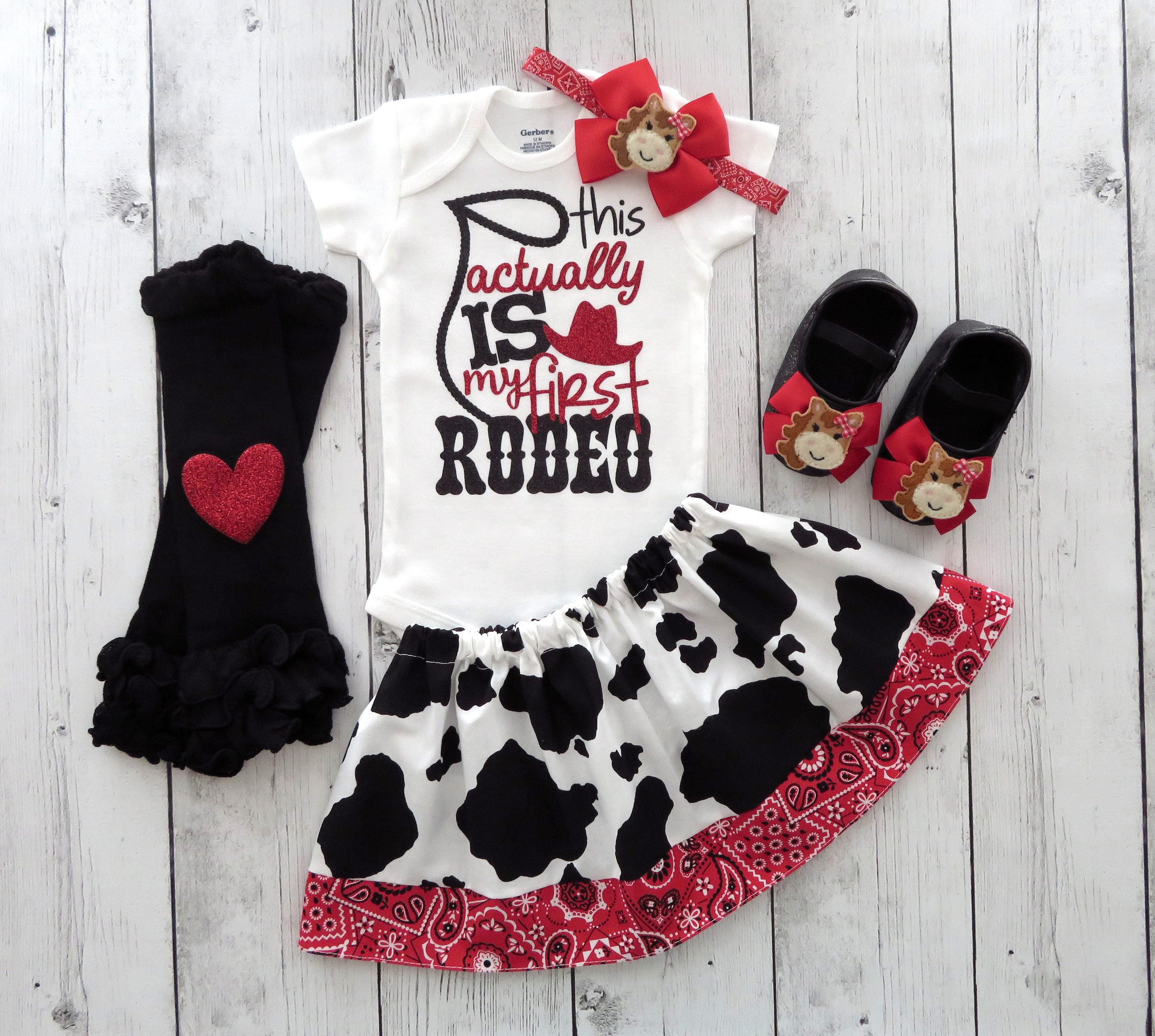 Cowgirl First Birthday Outfit Red - this actually is my first rodeo, first birthday girl, red bandana, cowgirl dress, cowgirl shoes