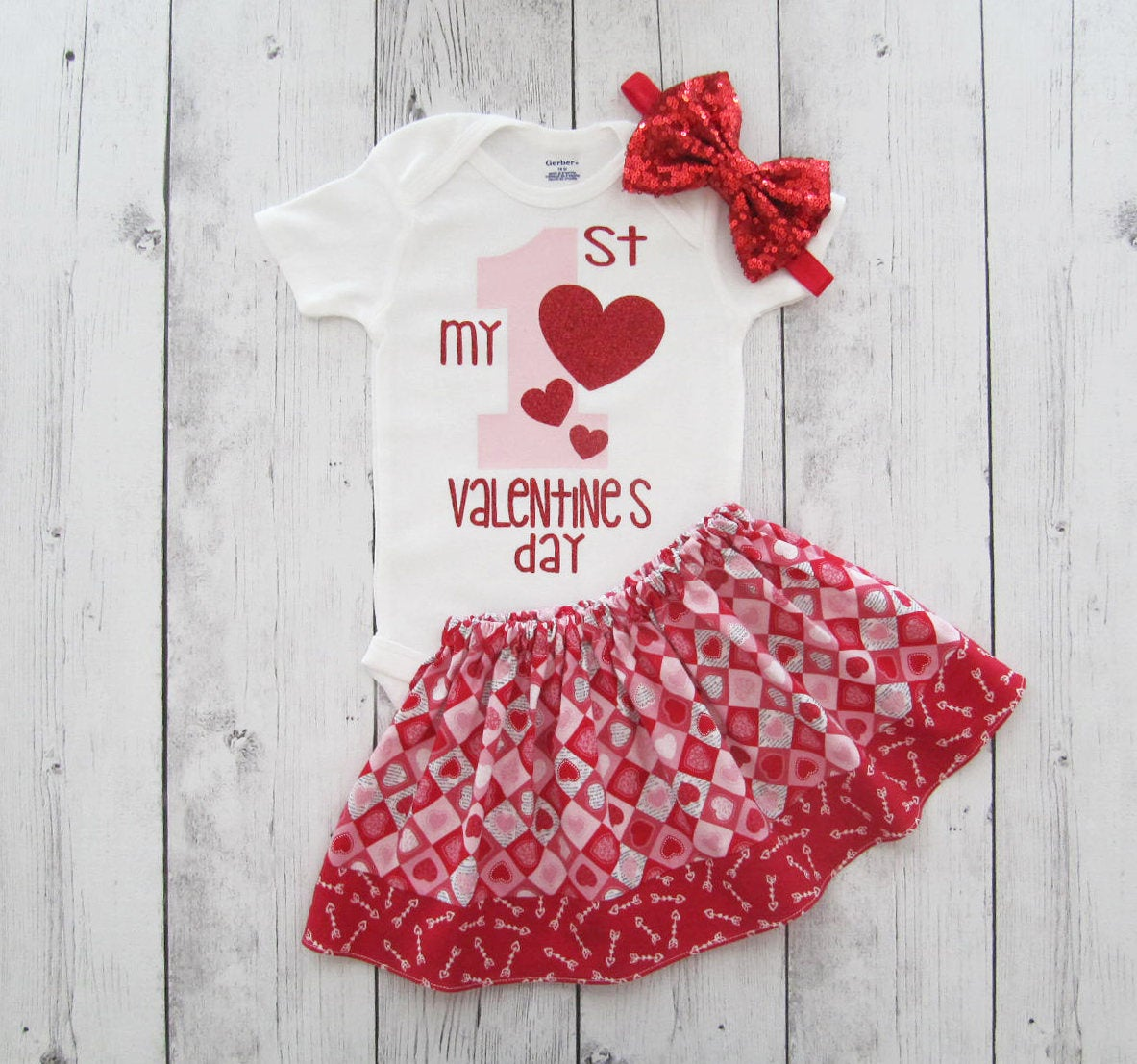 My First Valentine's Day - arrow heart, red pink, hearts, baby girl valentine, first valentines day girl, heart skirt