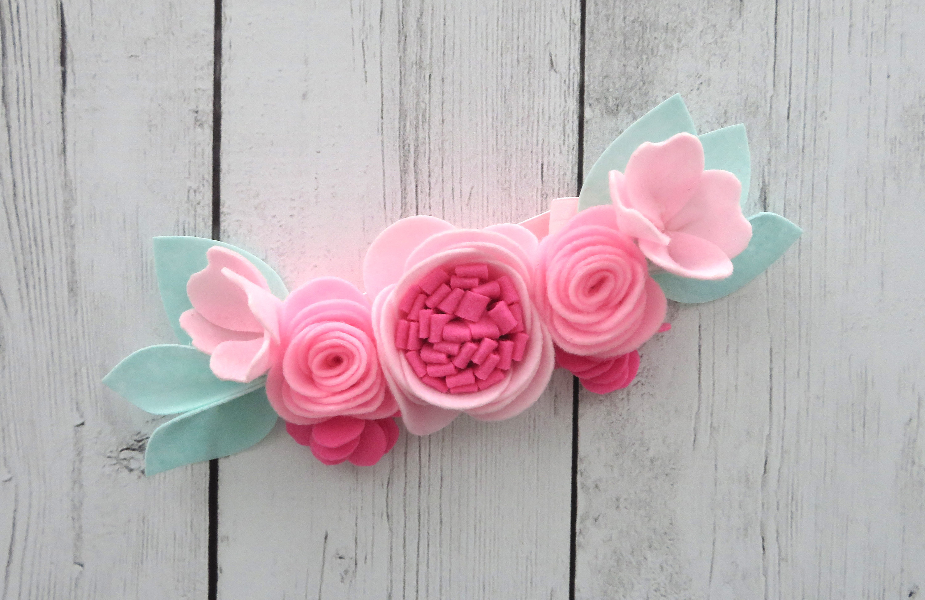 Floral Crown Headband for Girl - floral first birthday, felt flowers headband, pink floral crown, summer birthday, felt floral crown