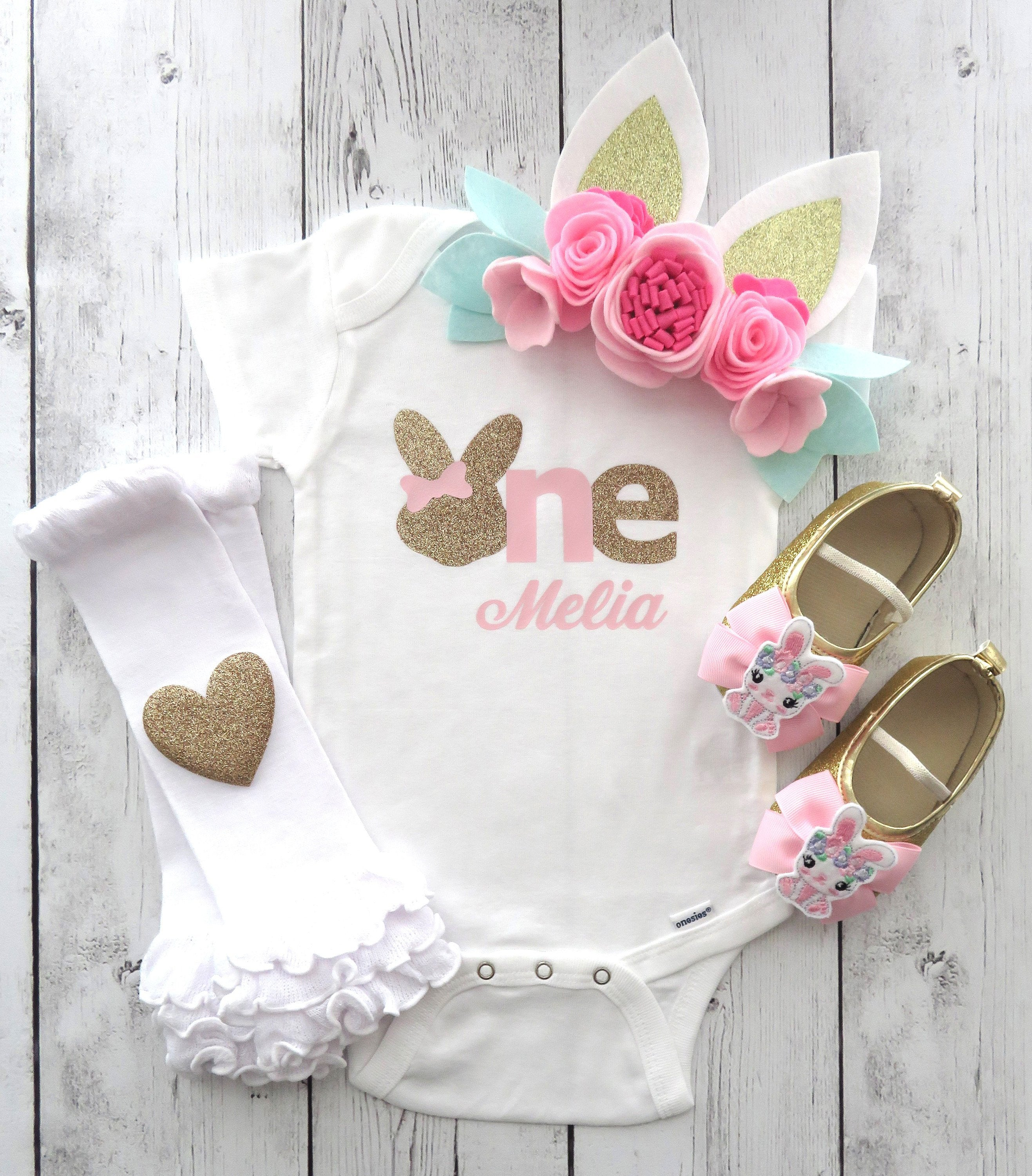 Bunny First Birthday Onesie in pink and gold- some bunny is one, bunny ear headband, bunny shoes, bunny birthday outfit girl, personalized