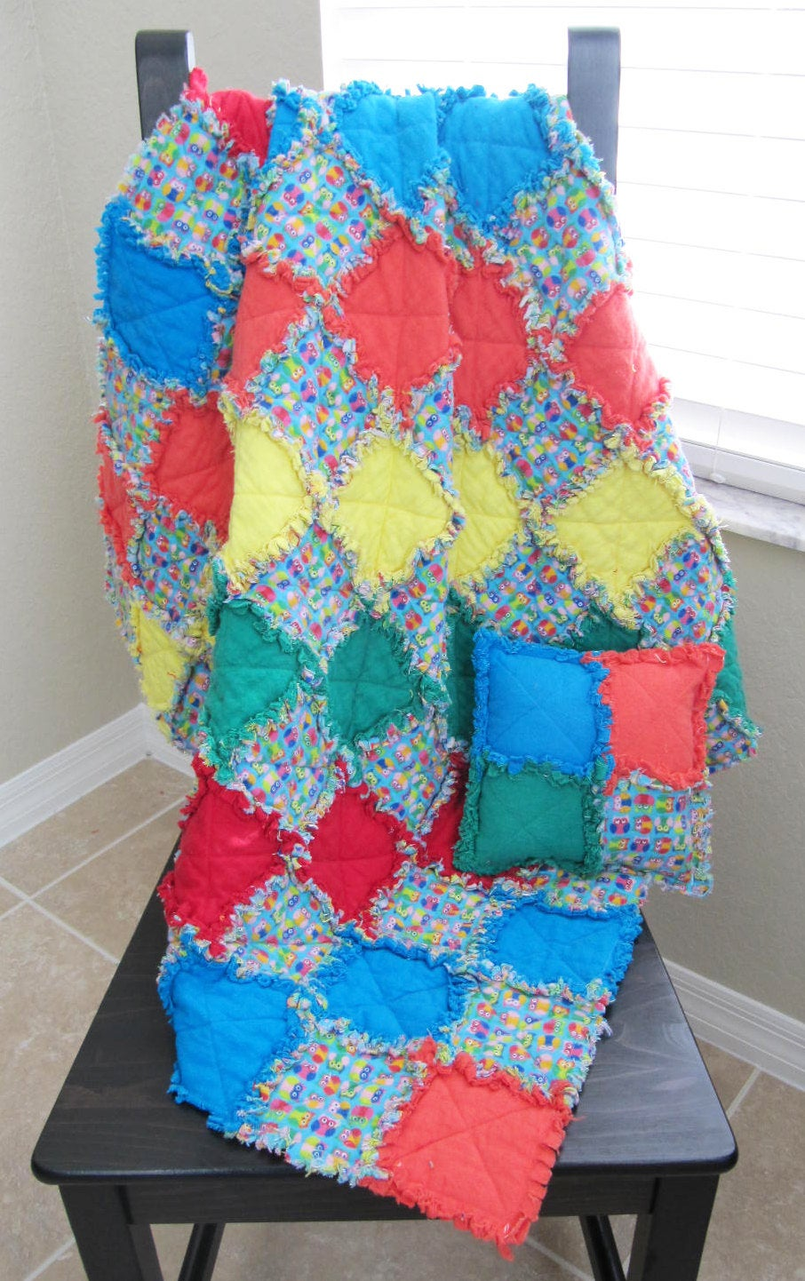 Owls Crib Quilt In Unisex Colors with free matching pillow - crib/nursery quilt, owl baby bedding, colorful,