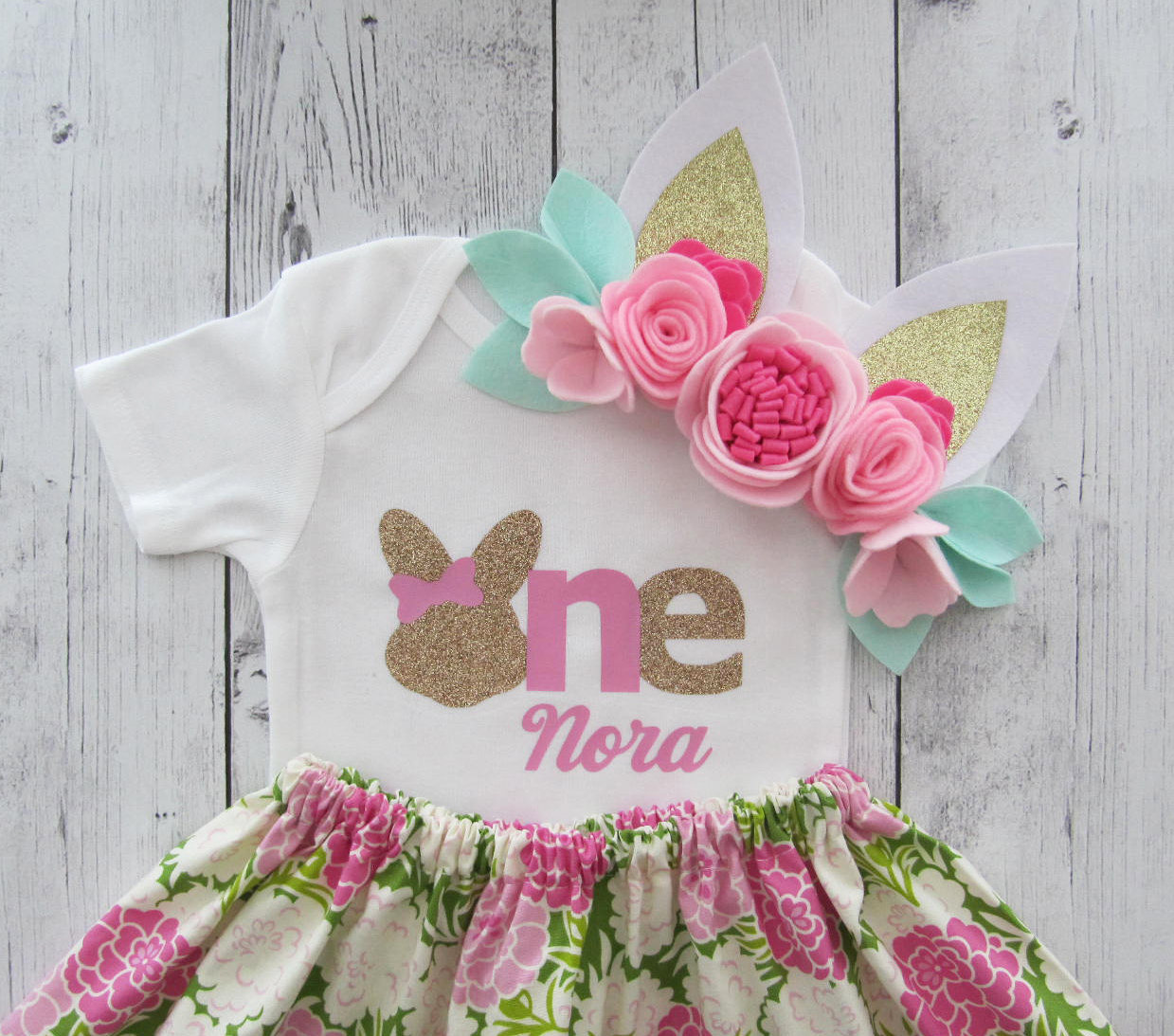 Shabby Chic Bunny First Birthday Outfit in Pink Mums Print - some bunny is one, girl birthday outfit, bunny 1st birthday outfit girl pink