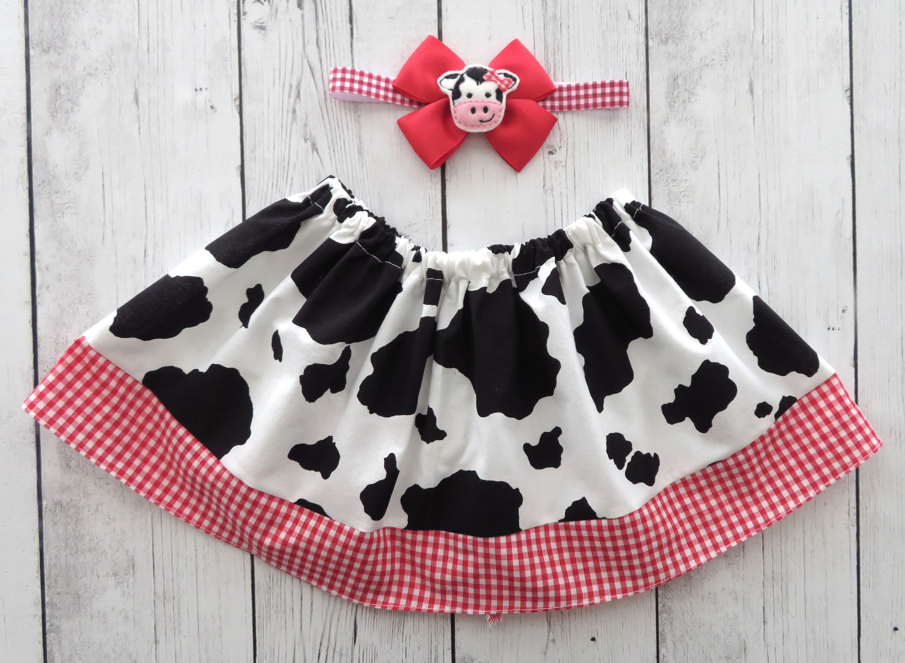Cow Skirt for baby girl - cowgirl skirt, barnyard birthday, cow birthday, cow halloween costume, cow skirt girl, baby girl skirt, cow red
