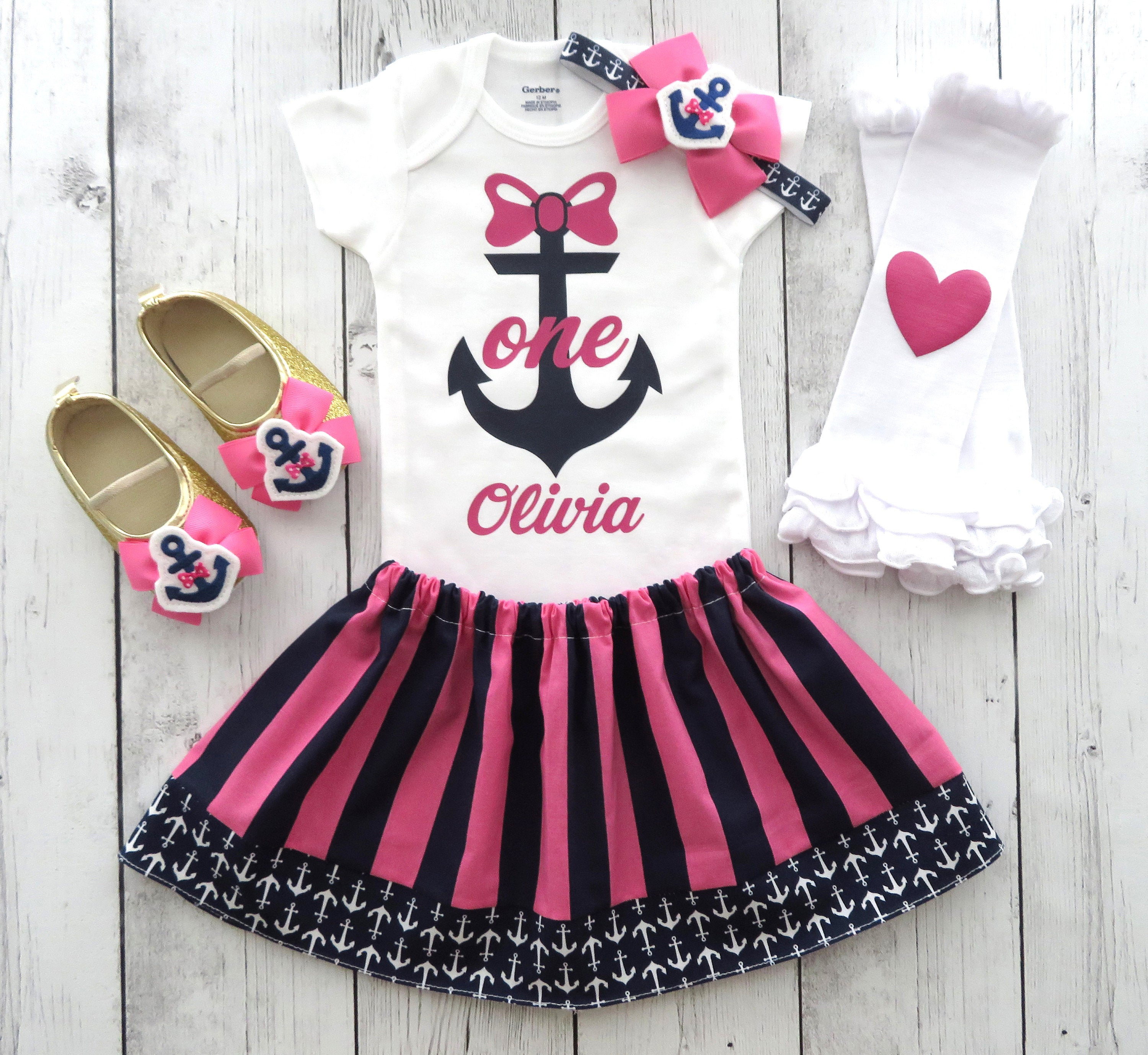Anchor First Birthday Outfit in pink and navy nautical stripes - girl birthday outfit, anchors, preppy, nautical girl, anchor headband