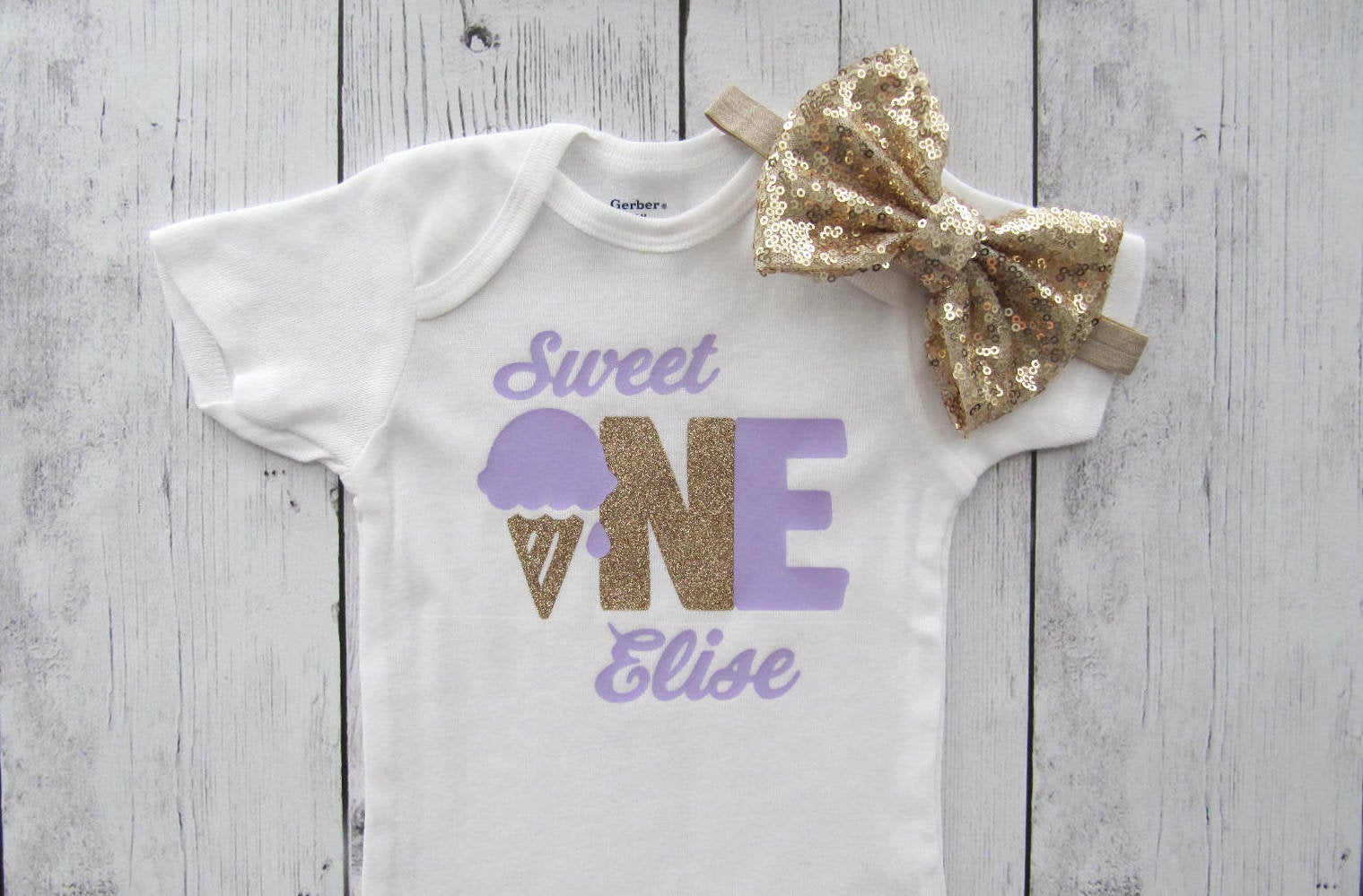 Sweet One Birthday Onesie Girl - Ice Cream First Birthday Party - lavender gold, ice cream cone one, ice cream parlor, summer birthday
