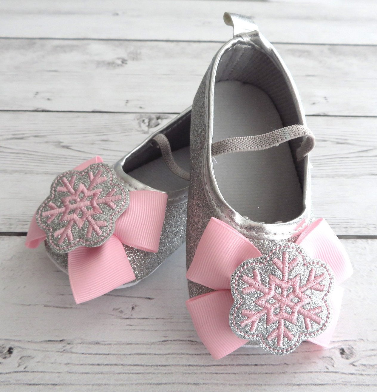 Snowflake First Birthday Shoes & Headband Set in light pink and silver- snow much fun to be one, winter ONEderland birthday girl