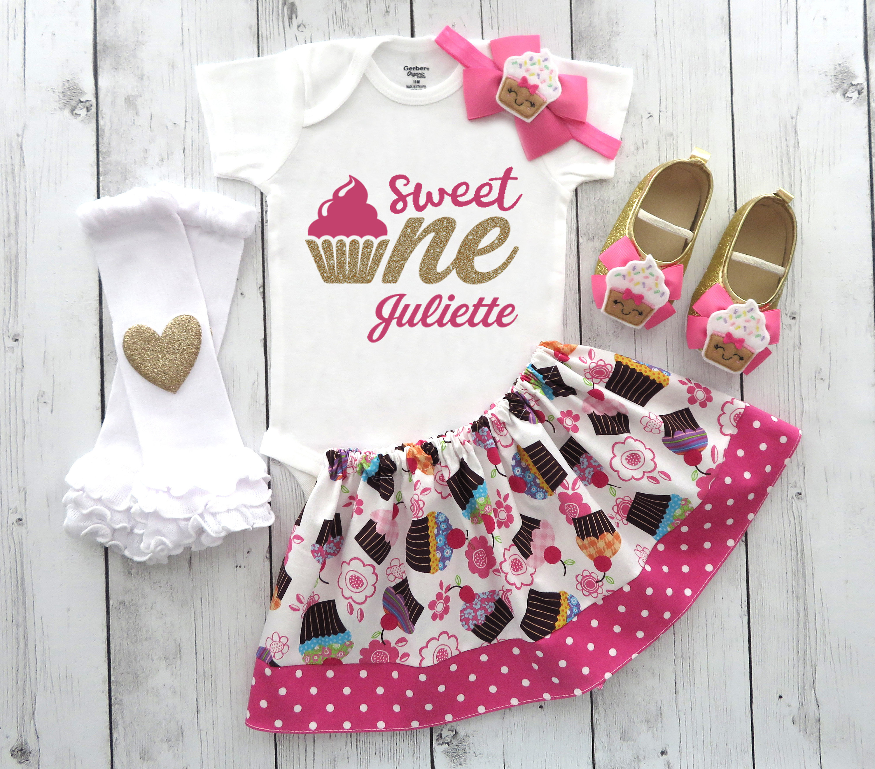 Sweet One Cupcake First Birthday Outfit with cupcake shoes and cupcake skirt - cupcake 1st bday outfit girl, sweet one birthday party girl