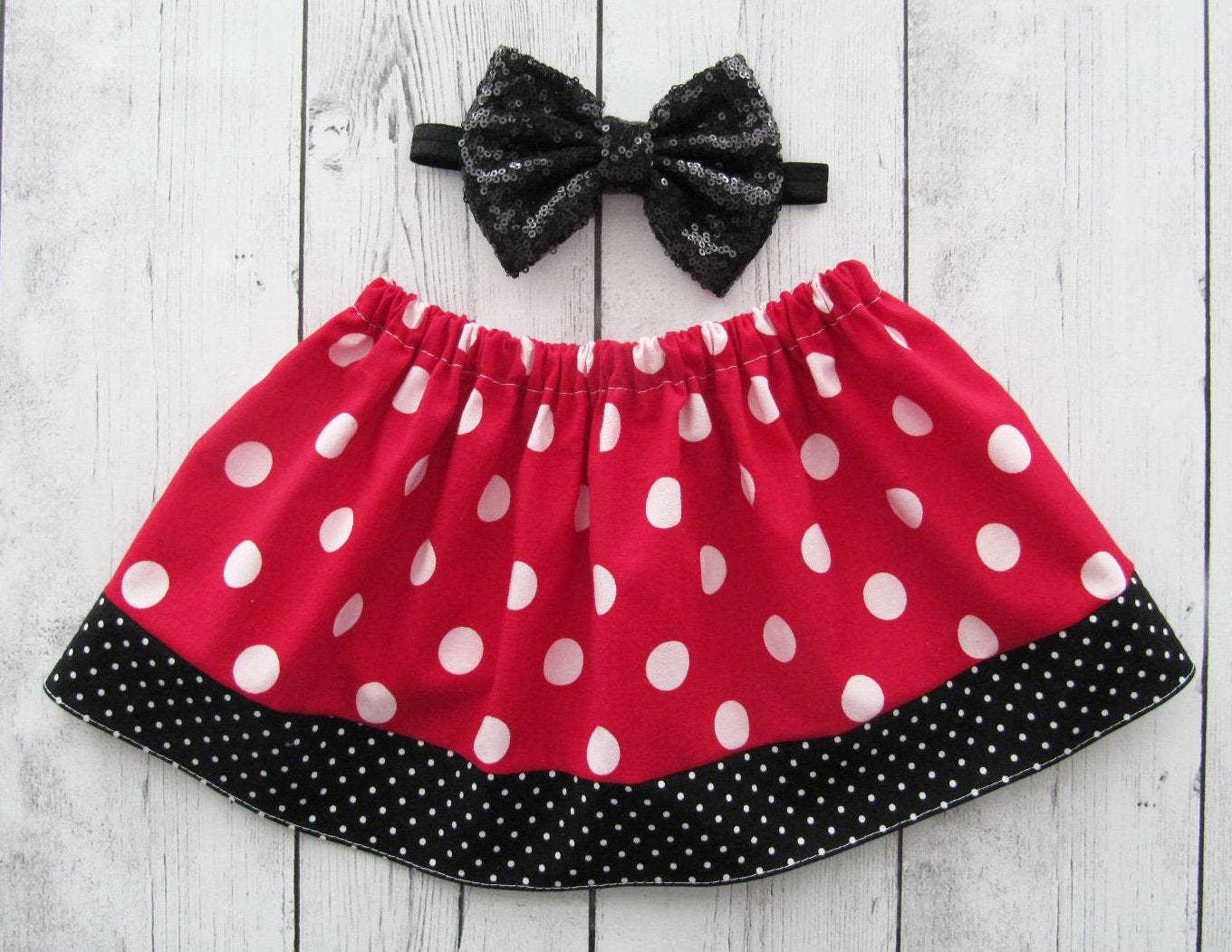 Red Minnie Mouse Polka Dot Skirt for baby girl - red black skirt, polka dot skirt, baby girl skirt, baby girl skirts, red dot