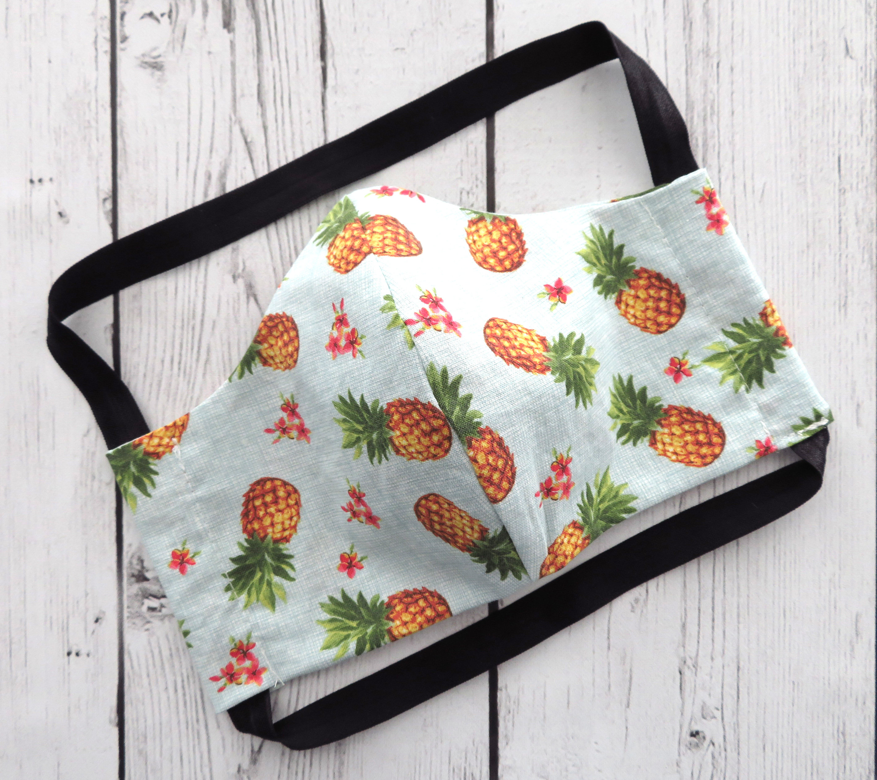 Pineapple Face Mask - COMFORTABLE, ready to ship, handmade in usa, cotton face mask for adult, washable and re-usable, ear saver design