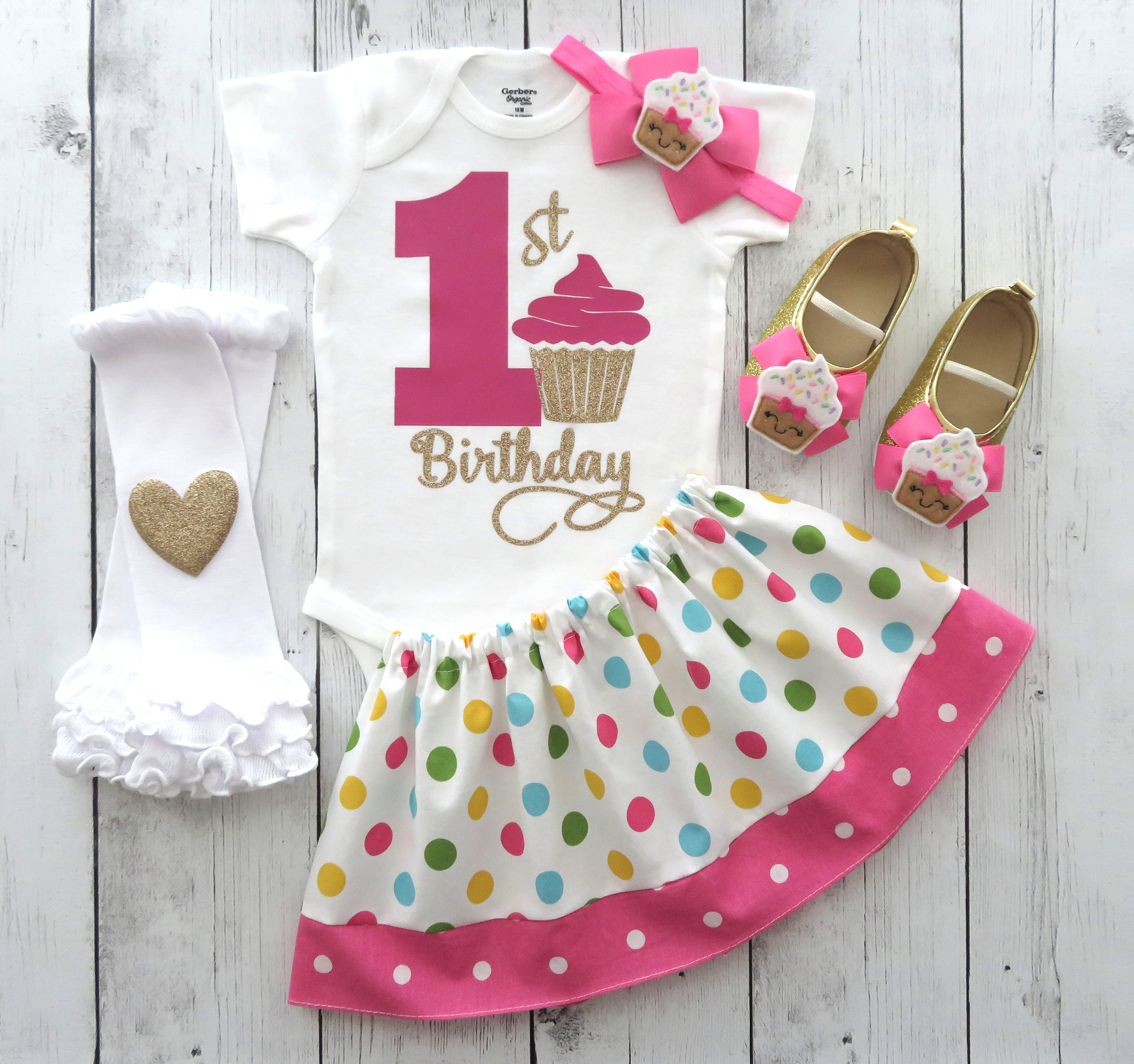 First Birthday Outfit in colorful pink polka dot print - sweet one, 1st bday outfit girl, pink and gold, cupcake birthday, cupcake shoes