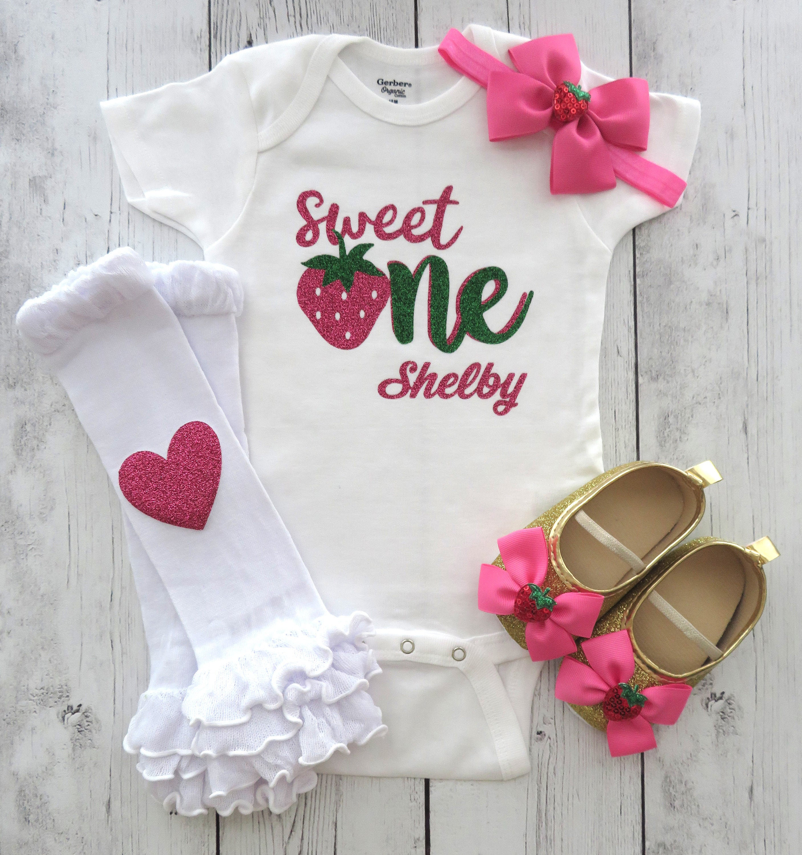 Strawberry One First Birthday Onesie - sweet one, strawberry shortcake, personalized, strawberry theme birthday, sweet one shirt girl