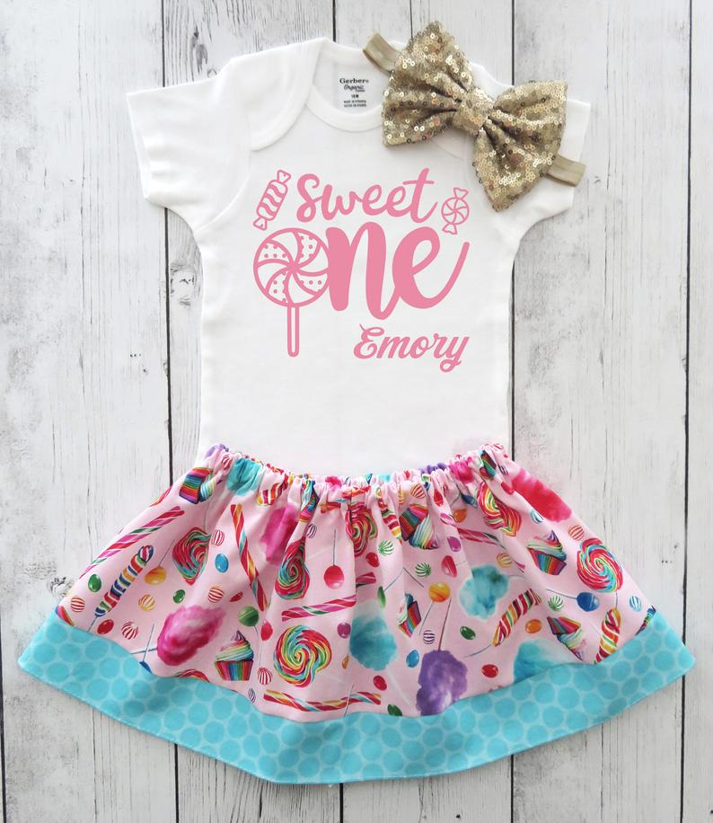 Candyland First Birthday Outfit in pink and gold - lollipops, cotton candy, sweet one birthday girl, sweet one 1st bday outfit