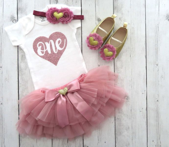 Dusty Rose First Birthday Outfit with tutu bloomers - rose gold first birthday outfit girl, dusty rose tutu, rose gold tutu, 1st bday outfit