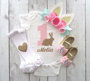 Bunny First Birthday Onesie - pink gold, personalized, some bunny is one, bunny 1st birthday girl, bunny ears headband, bunny first birthday