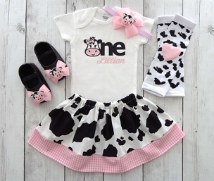 First Birthday Outfit in Cow print and Pink Gingham - barnyard birthday outfit, farm animal birthday girl, personalized, barnyard outfit