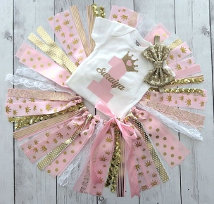 Princess First Birthday Outfit with Pink and Gold Tutu and Shoes - princess 1st bday outfit girl, crown/tiara tutu dress, princess bday girl