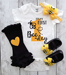 First Bee-day Onesie in yellow and black - first bee-day birthday outfit, bee shoes, bee 1st bday outfit, first birthday girl,