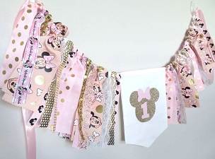 Minnie Mouse First Birthday Banner in Pink and Gold - high chair banner, minnie 1st bday girl, minnie mouse birthday party banner,