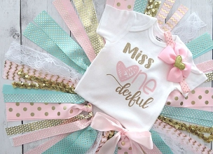Miss Onederful First Birthday Outfit with Fabric Tutu, Headband and Shoes - heart birthday girl, pink mint gold birthday outfit, tutu outfit