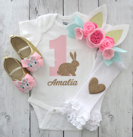 CUSTOM COLORS Some Bunny is One Birthday Girl Outfit Bunny Onesie Bunny Baby Shower Gift Peter Rabbit 1st Birthday Girl Outfit