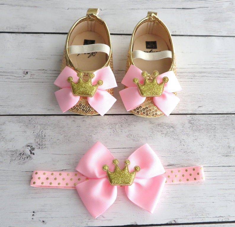 Princess First Birthday Shoes in light pink and gold - crown shoes, pink gold princess shoes, gold toddler shoes, princess birthday outfit