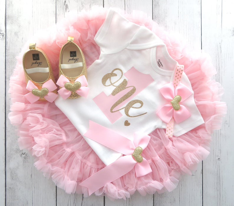 Pink and Gold First Birthday Outfit with light pink pettiskirt tutu - 1st bday tutu, themeless 1st bday outfit girl, simple birthday outfit