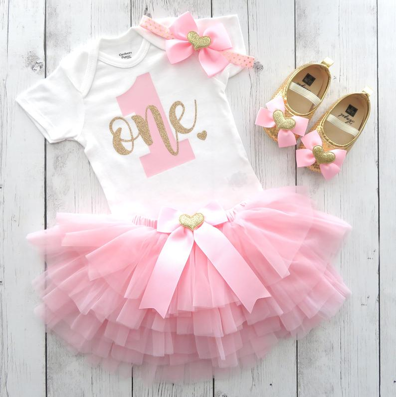 Pink and Gold First Birthday Outfit for baby girl with light pink tutu bloomers - themeless simple 1st birthday, first birthday dress