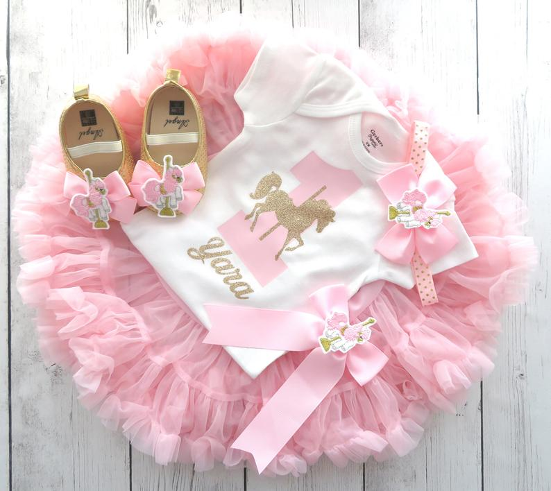 Carousel Horse First Birthday Outfit with tutu pettiskirt - light pink and gold first birthday, 1st birthday outfit girl tutu pink gold