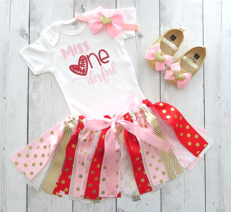 Valentines Day/Miss Onederful First Birthday Outfit with Fabric Tutu in Pink, Red and Gold - heart birthday girl, red pink bday tutu outfit