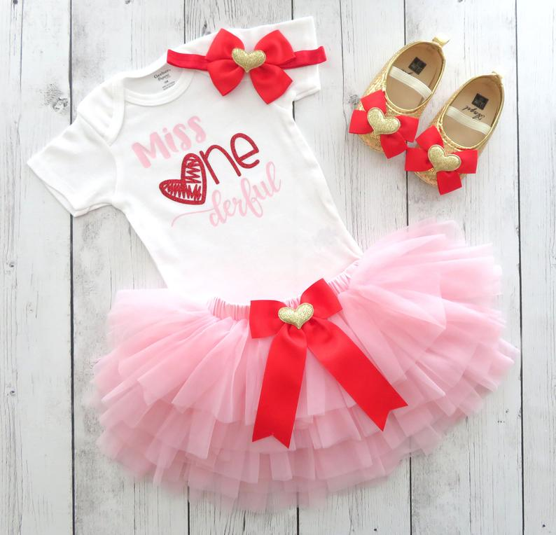 Valentines Day First Birthday Outfit for baby girl with pink and red tutu bloomers - miss ONEderful birthday, pink red 1st birthday dress